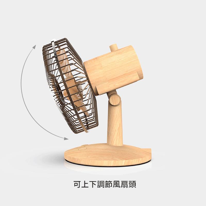 復古迷你便攜式風扇,USB充電木紋風扇復古台式搖頭風扇迷你風扇便攜式台式風扇(木紋)